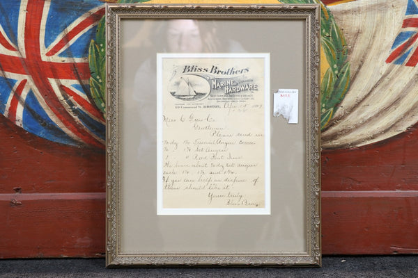 Authentic Framed Invoice from Bliss Brothers, c. 1899