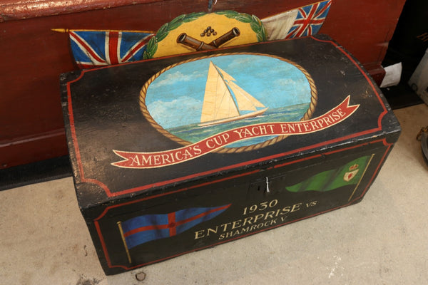 Domed Topped Sea Chest with Painted Decoration