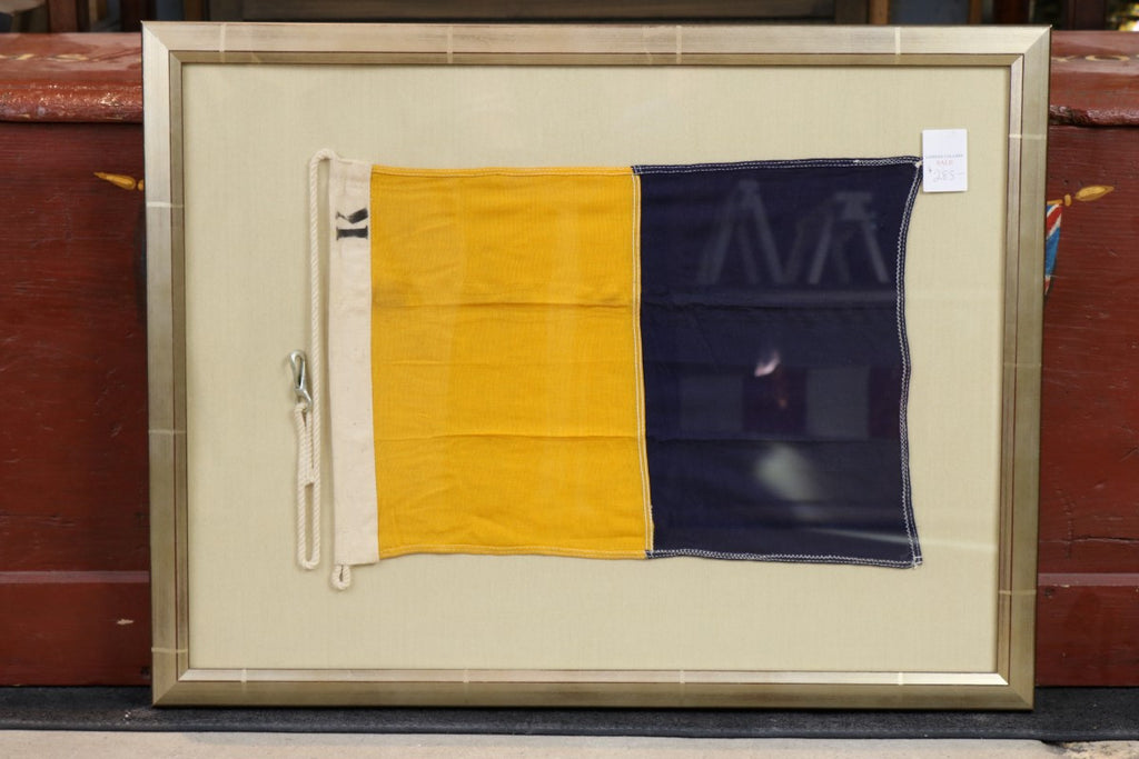 "Authentic Linen ""R"" Signal Flag, Framed"