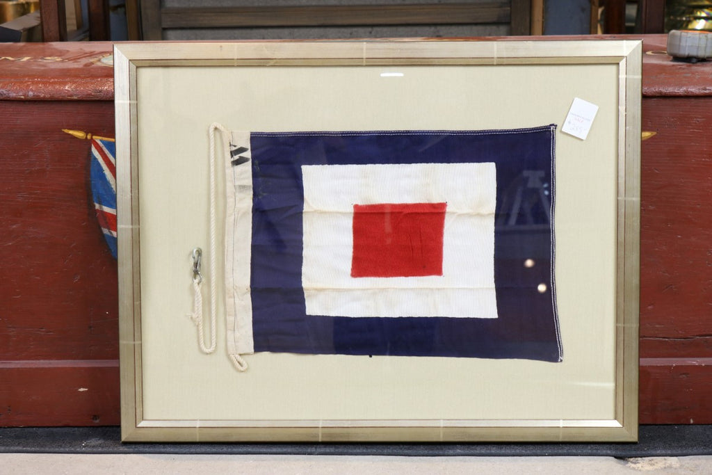 "Authentic Stitched ""W"" Signal Flag, Framed"