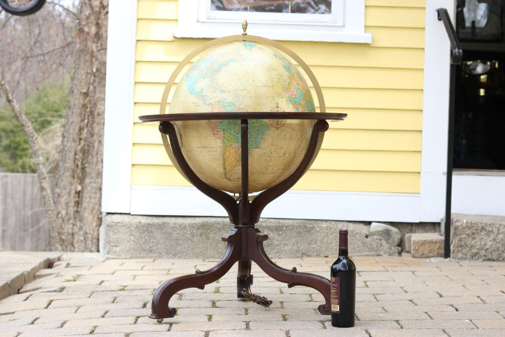 Mahogany Library Globe with Inlay