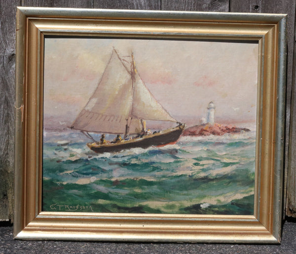 Oil on Board of a Sloop