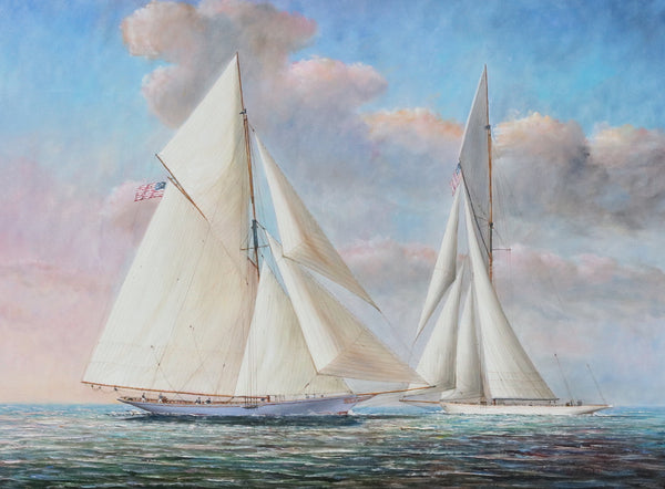 Oil Painting of Two Gaff Rigged Yachts