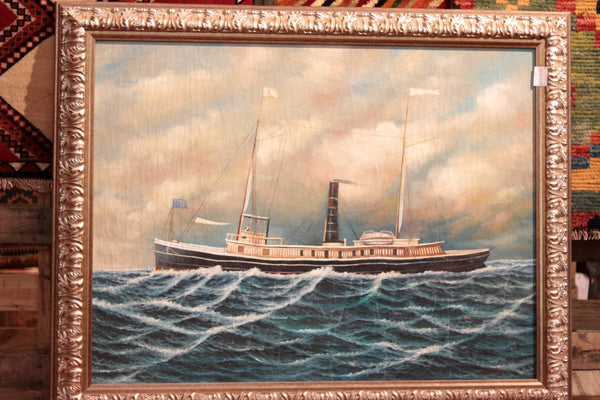 Framed Oil on Canvas of Tugboat