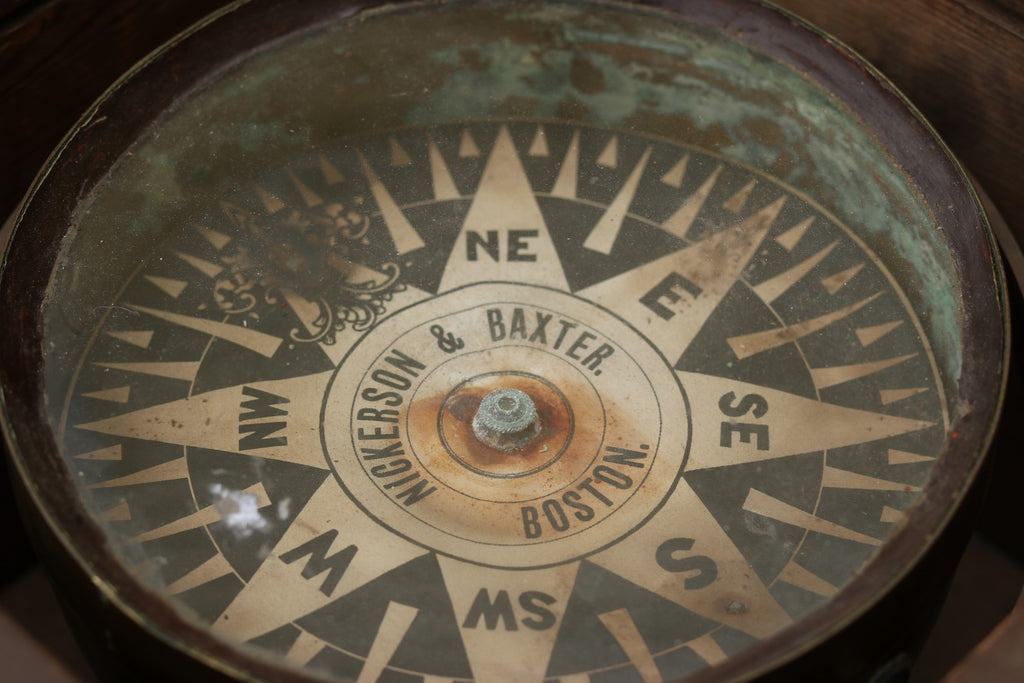 Mid-19th Century Boxed Compass by Nickerson & Baxter of Boston