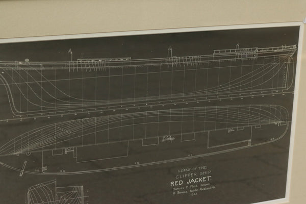 "Authentic Framed Blueprint of Clipper ""Red Jacket"""