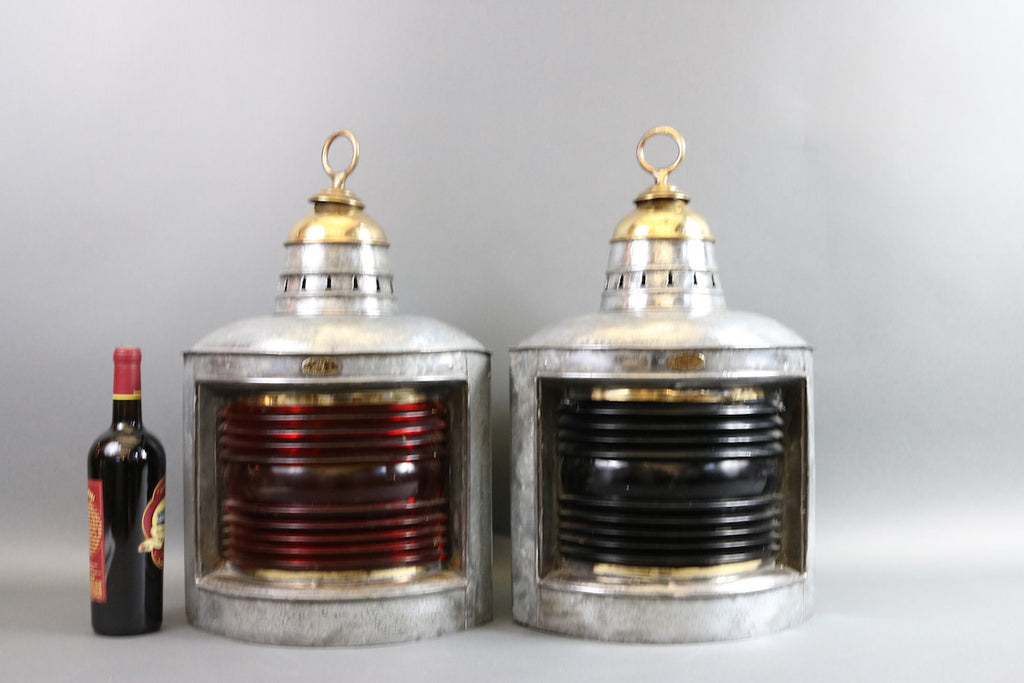 Pair of Galvanized Steel Port & Starboard Lanterns