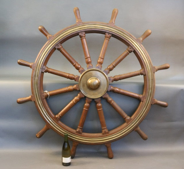 Twelve-Spoke Varnished Ship's Wheel, 60""