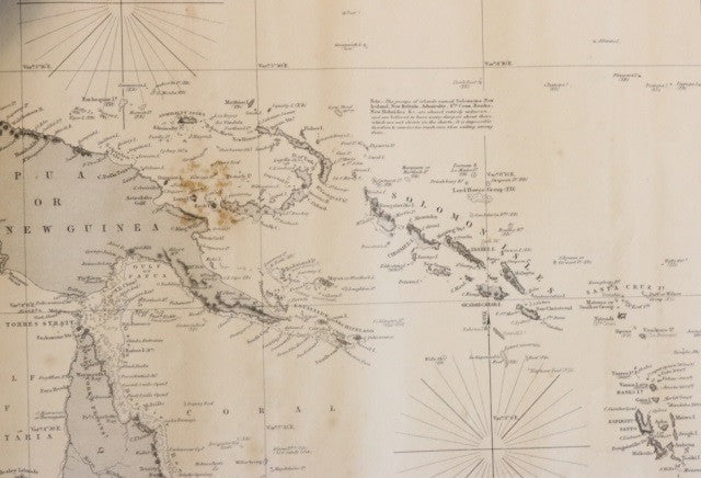 Original Imray & Son Chart of South Pacific, 1876