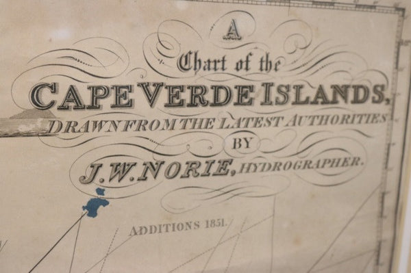 Original 19th-Century Chart of Cape Verde Islands