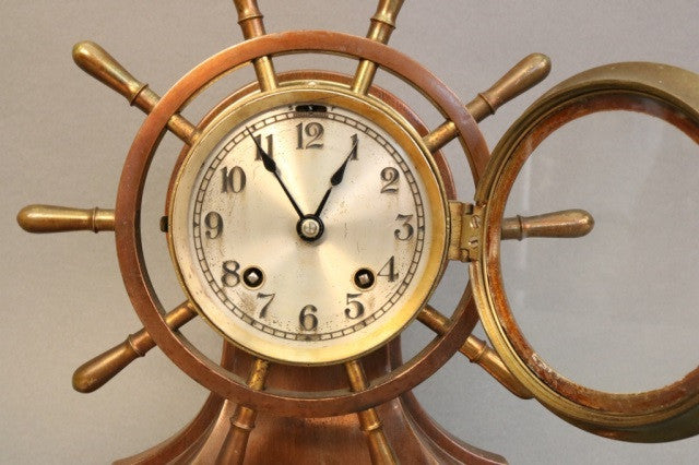 Ship's Bell Clock with Wheel