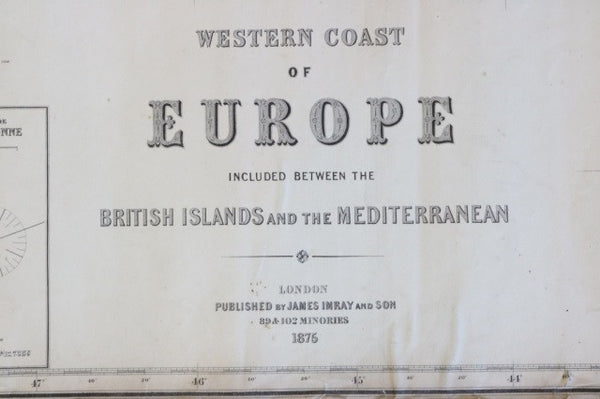 Original 1875 Imray & Son Chart of European Coast