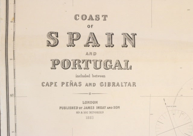 Original Imray & Son Spain & Portugal Chart, 1883