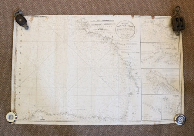 Original J W  Norie Chart of Bay of Biscay, c 1855