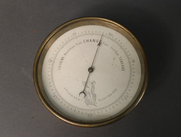 19th C. Barometer in Brass Case
