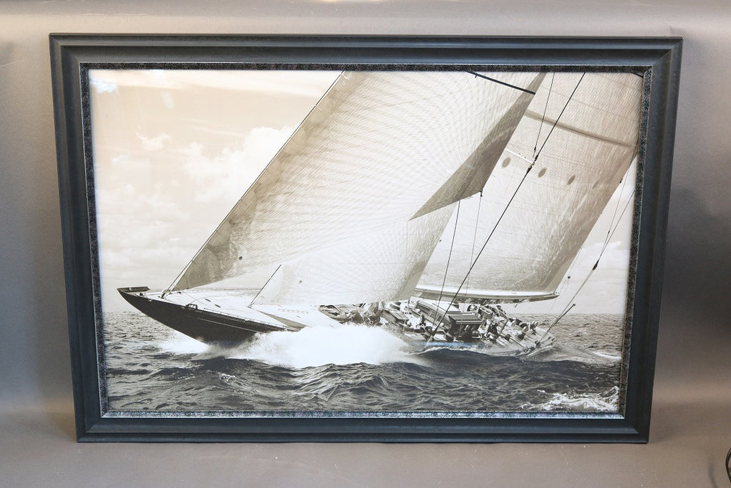 Framed Print Showing a Sailing Yacht, Sepia