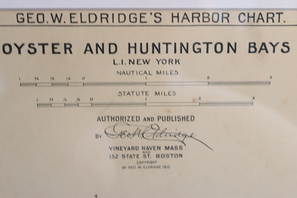 Original Early 1900's Chart of Long Island
