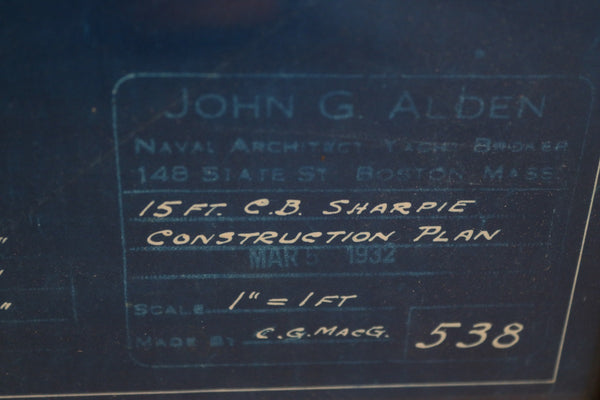 1932 Alden Blueprint of a Sharpie, Detailed