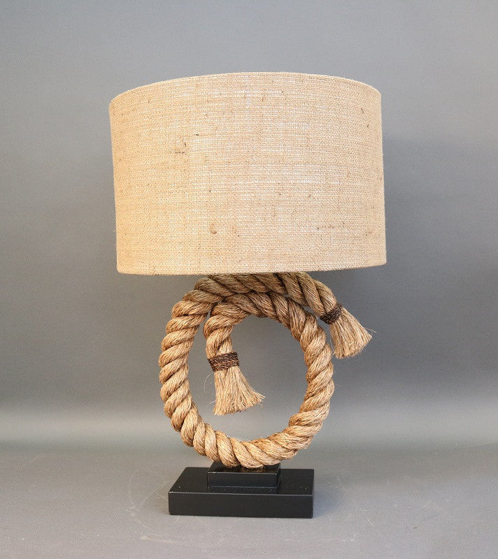 Table Lamp with Circular Rope Center