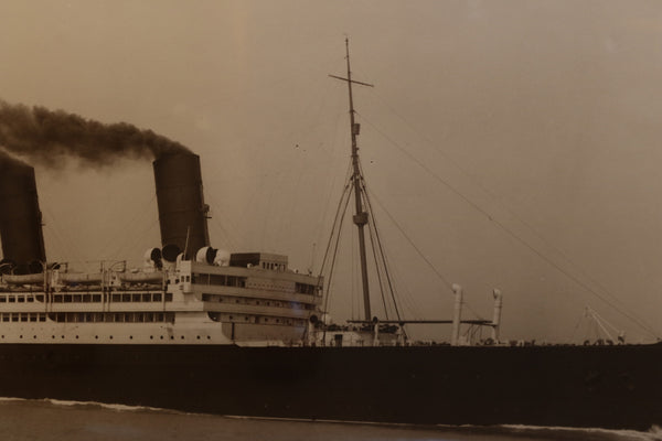 Black & White Print of 4 Stack Ocean Liner
