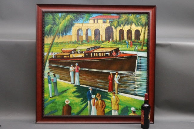Oil Painting of a Motor Yacht