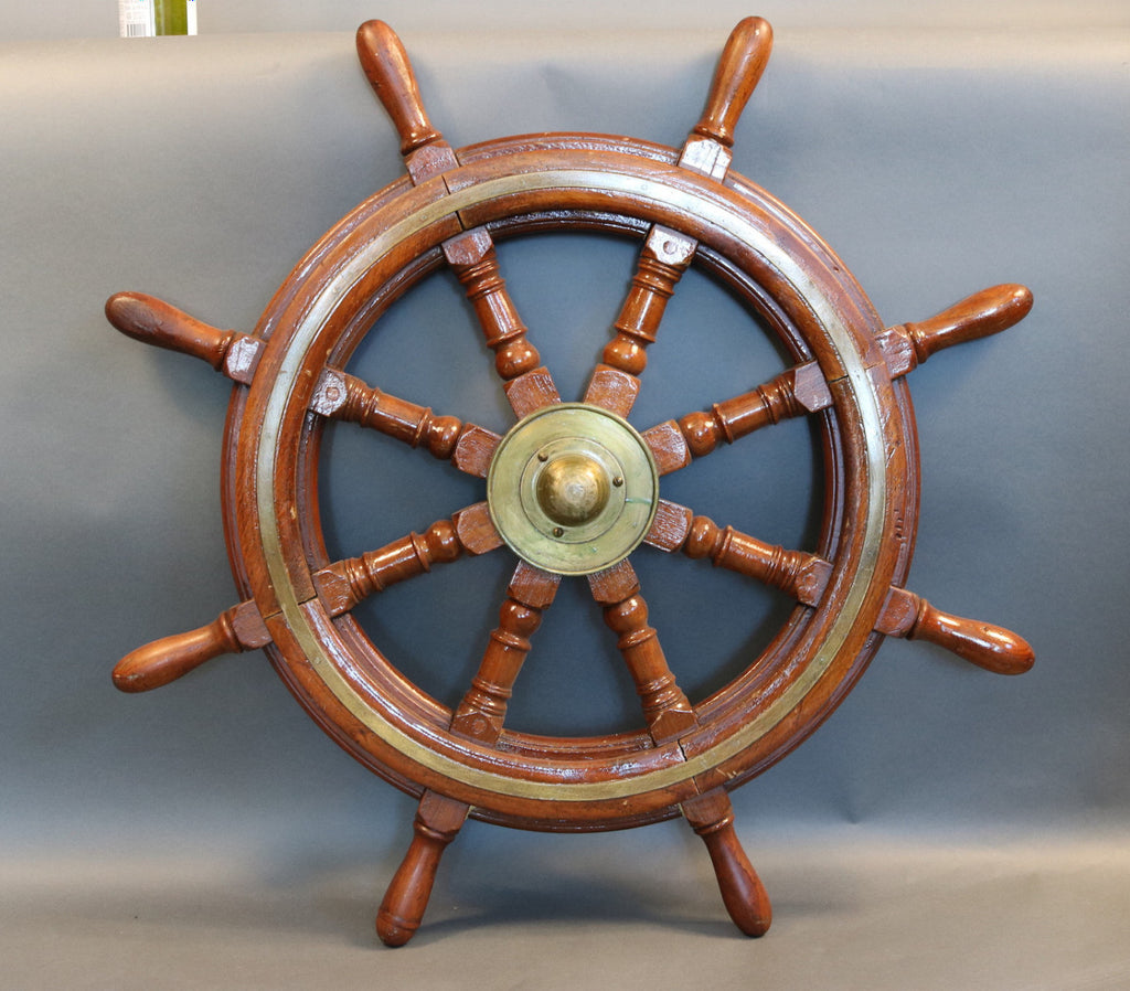 Mahogany Ship's Wheel with Brass Hub