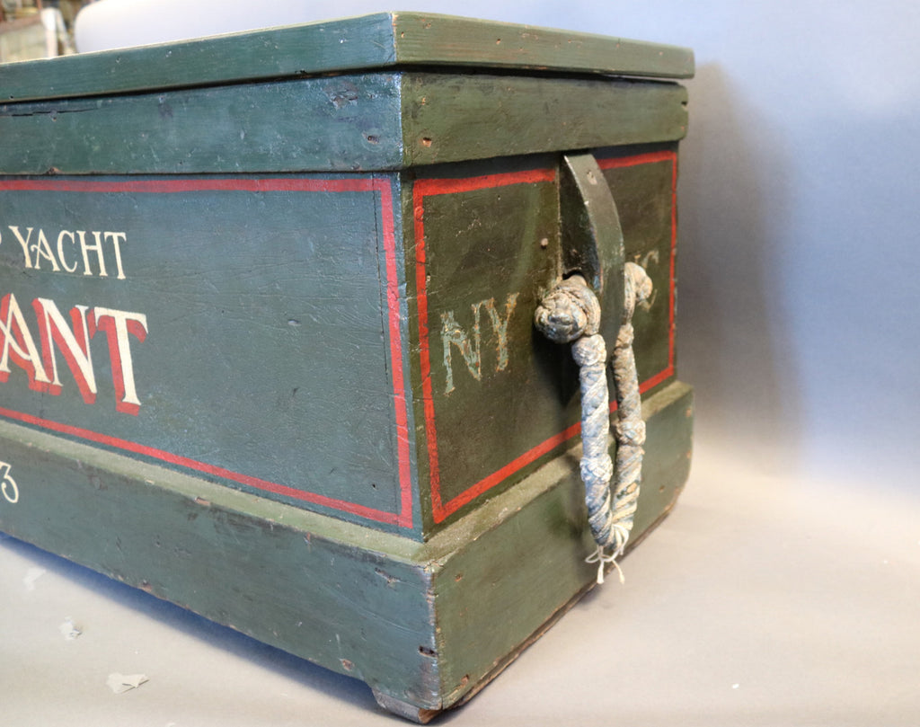 Painted Sea Chest with Rope Beckets