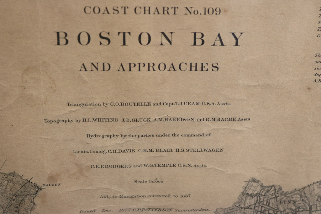 Original Boston Bay and Massachusetts Bay Chart