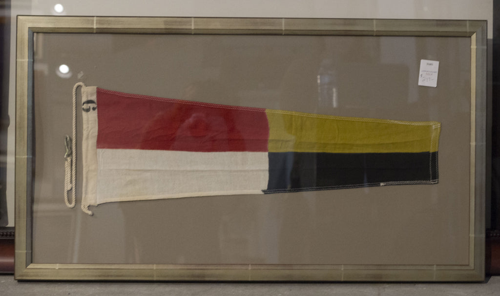 "Linen ""9"" Signal Flag in Shadowbox Frame"