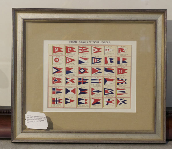 Authentic Framed Print of Yacht Club Flags