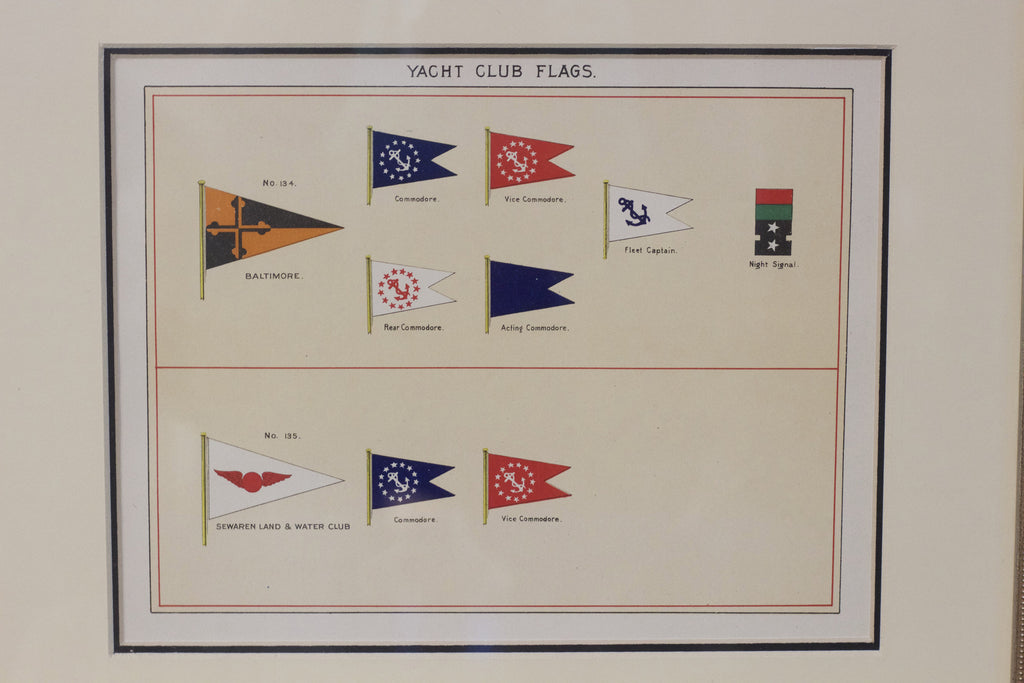 Framed Original Page of Yacht Clubs from Lloyd's Register, c. 1938