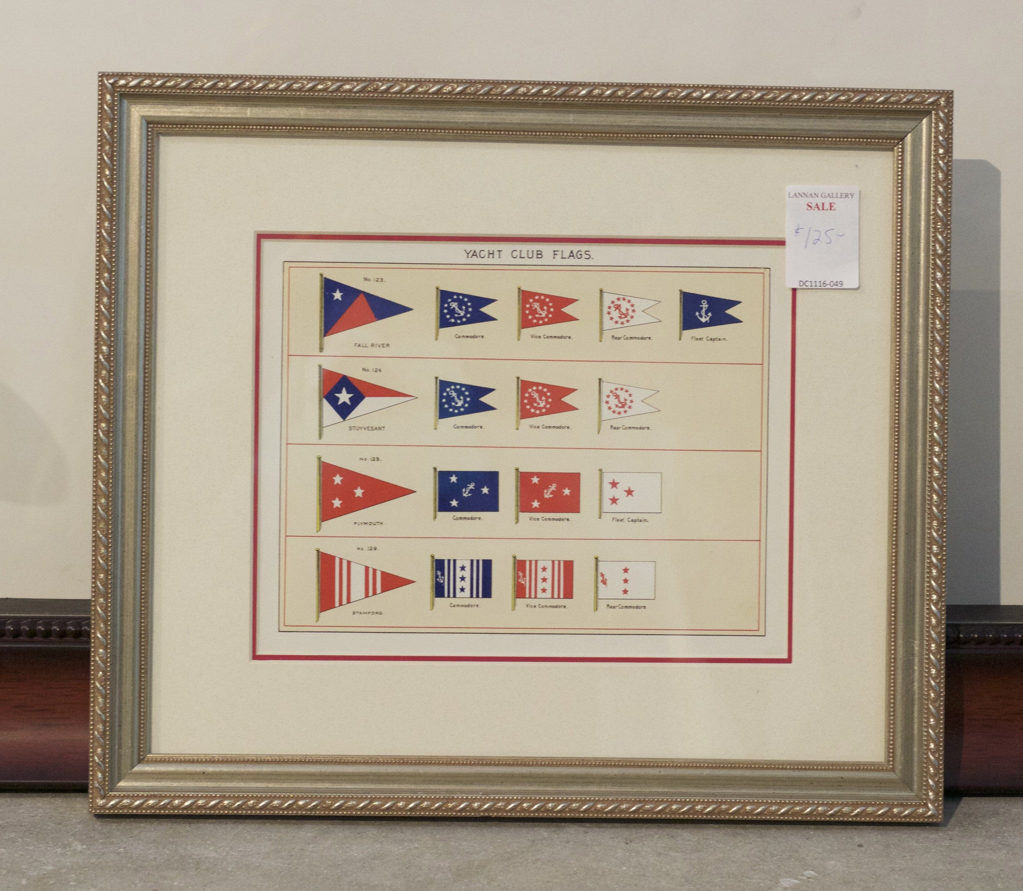 Framed Original Page of Yacht Club Flags from Lloyd\'s Register, c ...