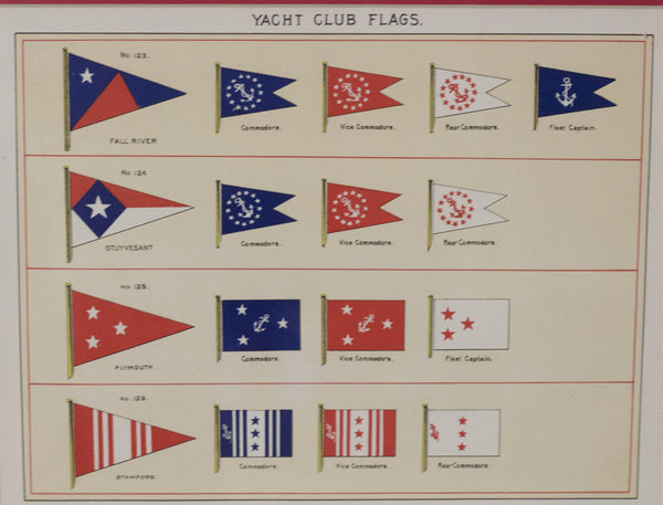 Framed Original Page of Yacht Club Flags from Lloyd's Register, c. 1938