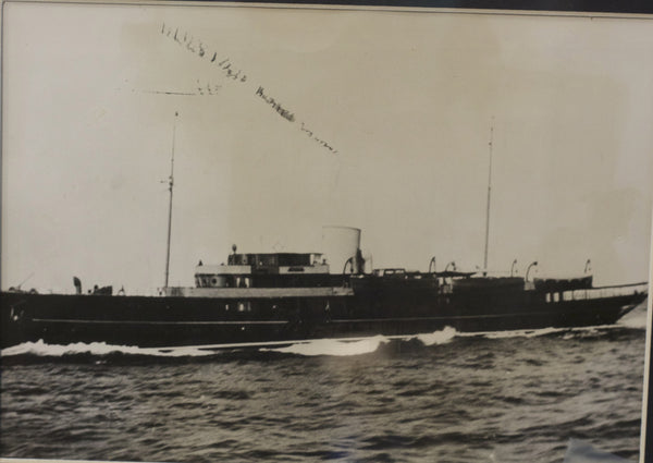 Original Antique Photograph of a Steam Yacht