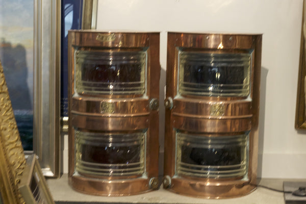 Pair of Doublestack Copper Port & Starboard Lanterns