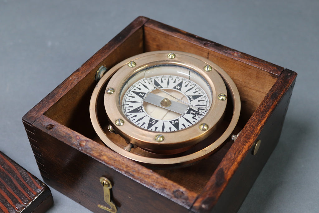 Brass Gimballed Boat Compass in Box