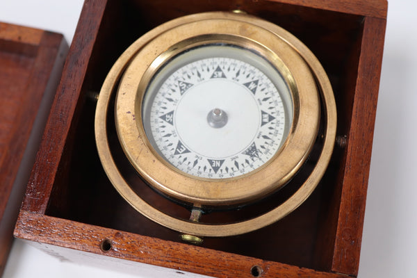 Solid Brass Boat Compass in a Wood Box