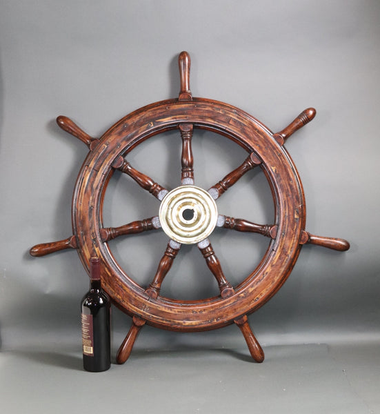 Seven Spoke Ships Wheel with Brass Hub