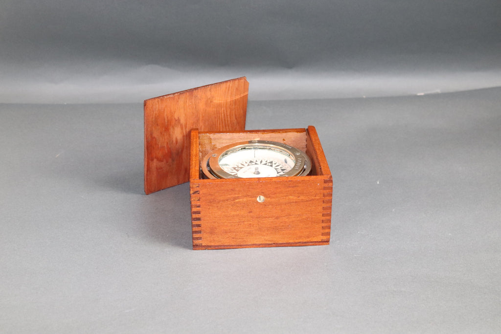 Boxed Gimbaled Brass Boat Compass