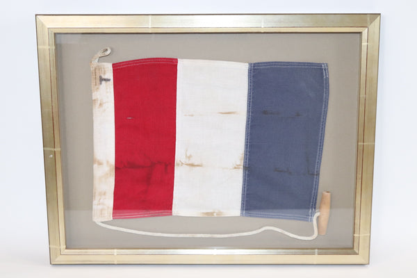 Framed Maritime Signal Flag of Letter T