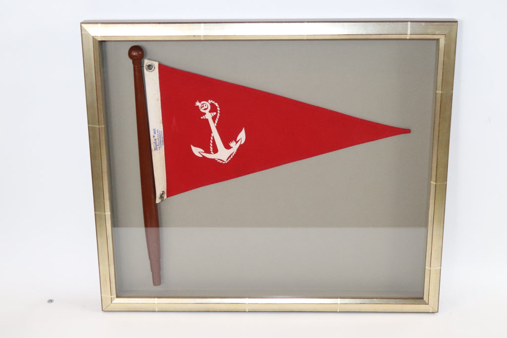 Framed Nautical Bow Pennant with Anchor