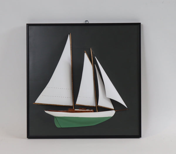 Half Model of Schooner Mounted on Board
