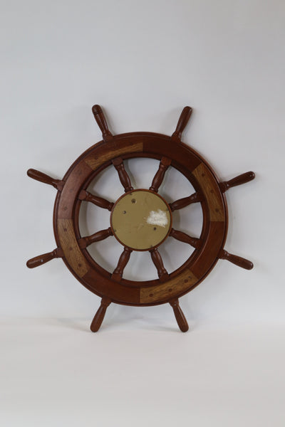 Yacht Wheel with Mounted Ships Clock