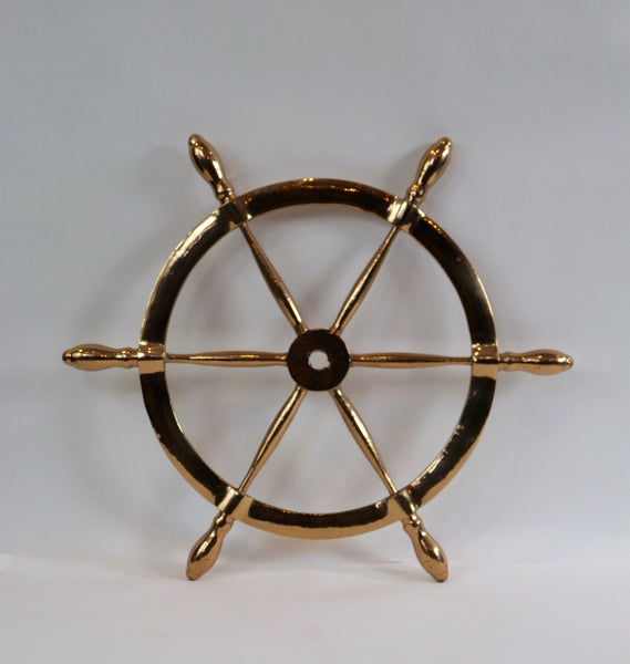 Solid Brass Six Spoke Ships Wheel