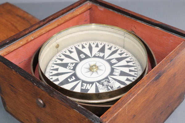 Nineteenth Century Boxed Ships Compass