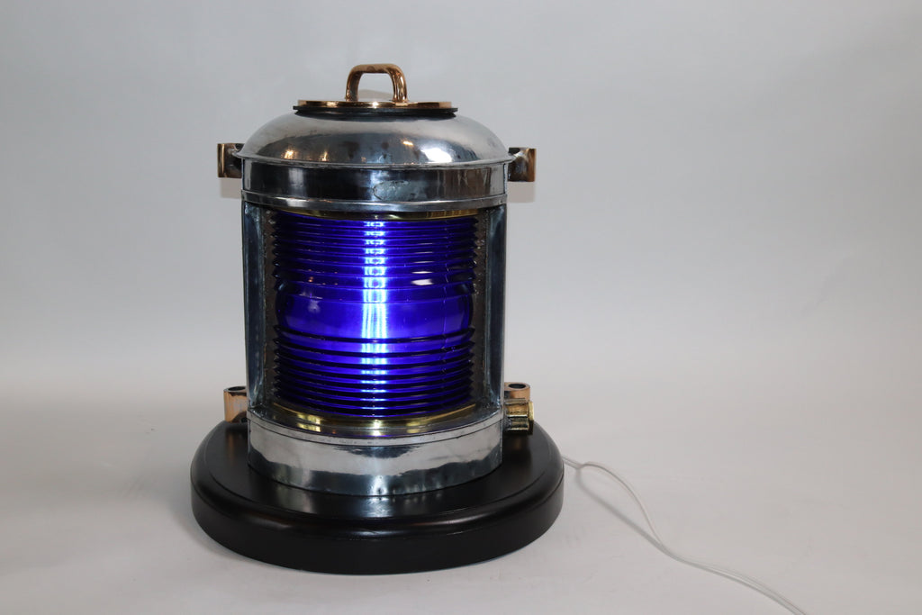 Ships Lantern with Rich Cobalt Blue Lens