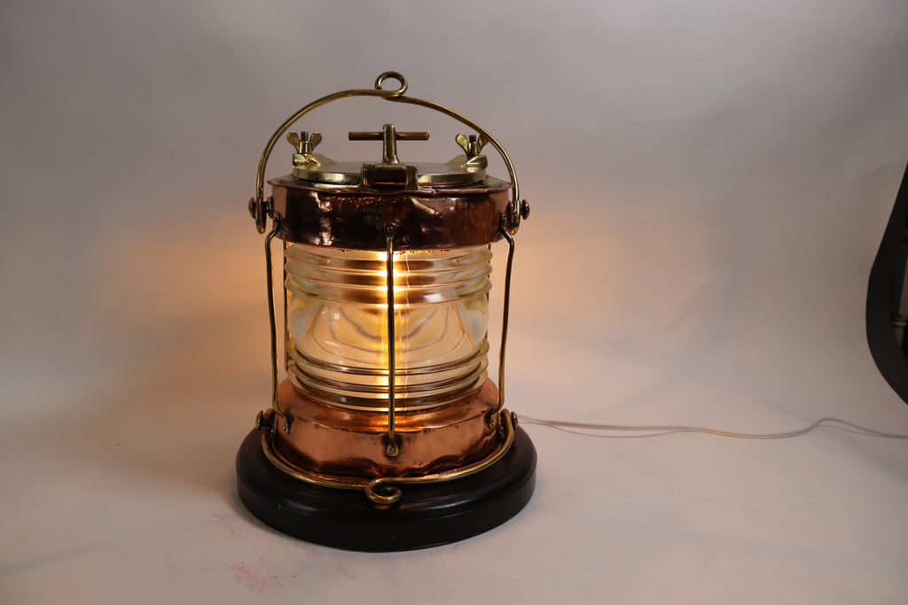 Solid Copper Ships Lantern with Fresnel Lens