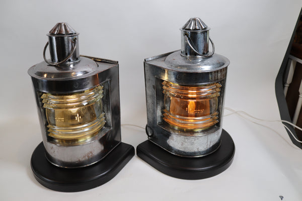 Polished Steel Ships Port and Starboard Lanterns