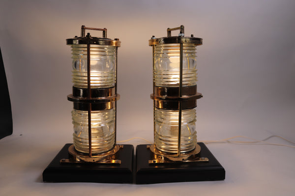 Pair of Solid Brass Maritime Pier Beacons