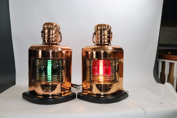 Pair of Copper Port and Starboard Ships Lantern